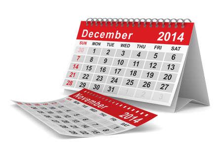 november 3d: 2014 year calendar. December. Isolated 3D image  Stock Photo