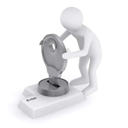 tecla enter: La entrada de datos de bloqueo. Imagen 3D aislado en blanco