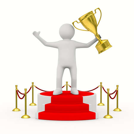 man with cup on podium. Isolated 3D image photo
