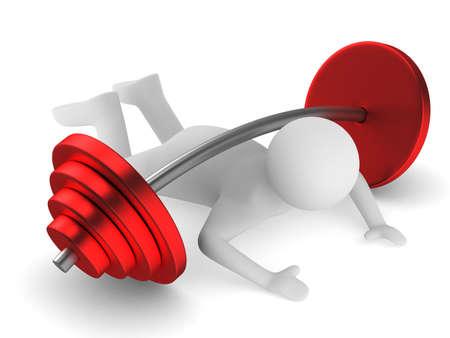 hombre cayendo: levantador de pesas apretada barra. Aislados imagen en 3D