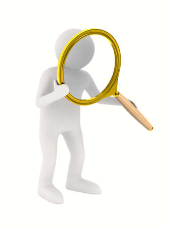 researcher: Man with magnifier on white background. Isolated 3D image