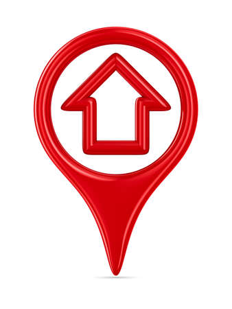 3d pointer: house traffic sign on white background. Isolated 3D image Stock Photo