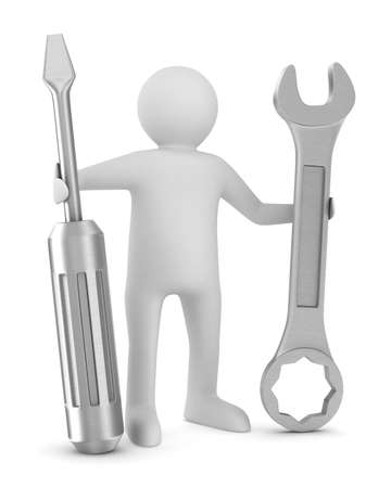serviceman: Man with screwdriver and spanner on white background. Isolated 3D image Stock Photo