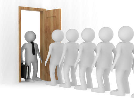 People standing one after another before the open door Stock Photo - 18532656