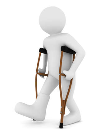 hurt: man on crutches on white background. Isolated 3D image