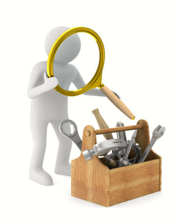 Man with magnifier and toolbox. Isolated 3D image Standard-Bild