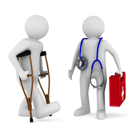 man on crutches and doctor. Isolated 3D image photo