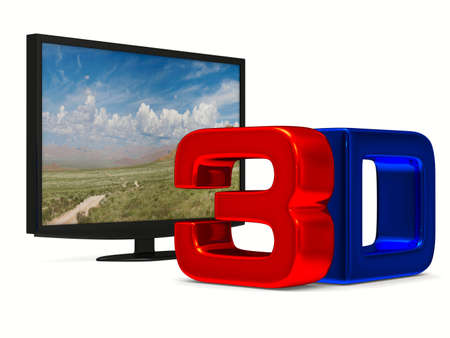 tft: TV on white background. Isolated 3D image Stock Photo