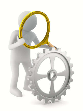 scrutiny: Man with magnifier on white background. Isolated 3D image