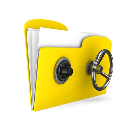 Yellow computer folder with lock. Isolated 3d image Stock Photo - 18819909