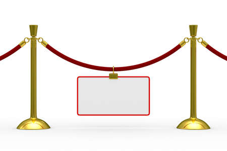 barrier rope: Gold stanchions on white background. Isolated 3D image