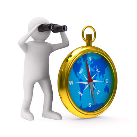 compass on white background. Isolated 3D image photo