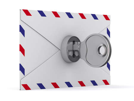 cryptography: E-mail concept on white background. Isolated 3D image