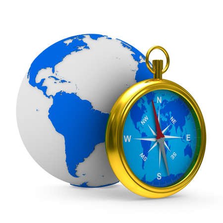 compass and globe on white background. Isolated 3D image photo