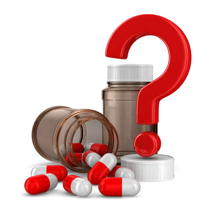 health questions: Two bottle for tablets on white background. Isolated 3D image