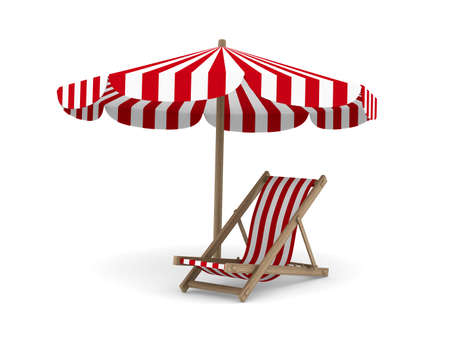 beach umbrella: Deckchair and parasol on white background. Isolated 3D image