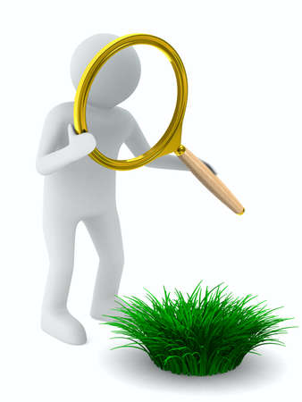 detect: Man with magnifier and grass. Isolated 3D image