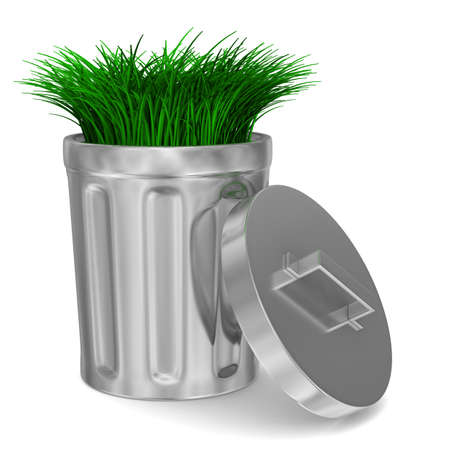 worthless: Garbage basket and grass on white background. Isolated 3D image