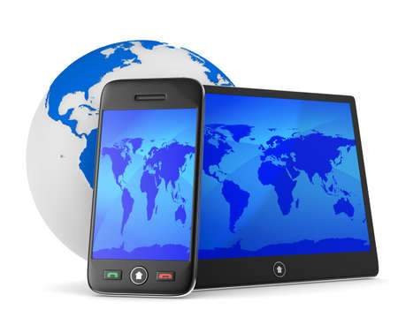 gsm phone: phone and tablet on white background. Isolated 3D image