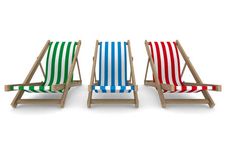 chaise: Three deckchair on white background. Isolated 3D image