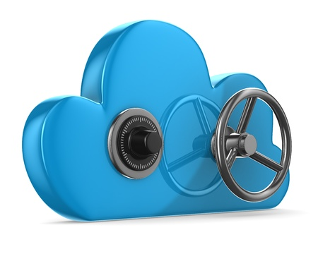 Cloud with lock on white background. Isolated 3D image