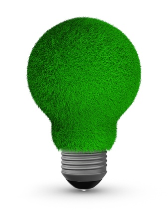 energy saving bulb on white background. Isolated 3D image Standard-Bild