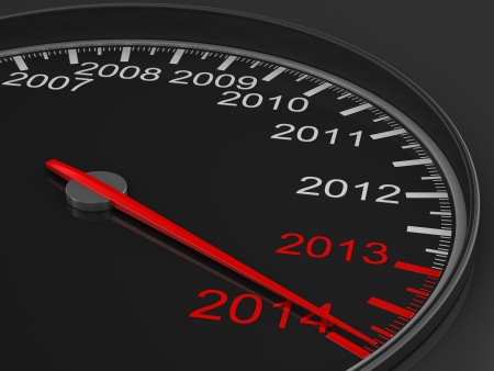 speedometer on black background. 3D image Standard-Bild