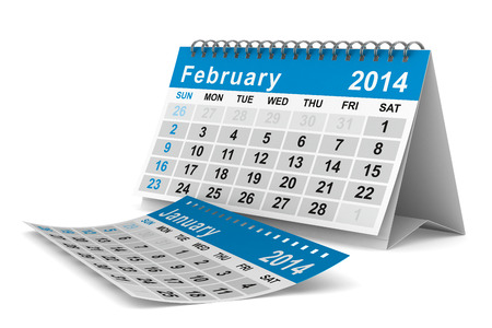2014 year calendar. February. Isolated 3D image