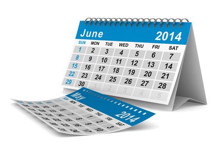 2014 year calendar. June. Isolated 3D image Foto de archivo