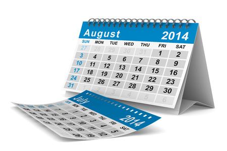 2014 jaar kalender. Augustus. Geà ¯ soleerde 3D beeld Stockfoto - 22970300