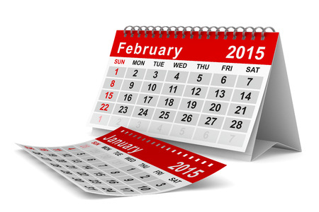 2015 year calendar. February. Isolated 3D image photo