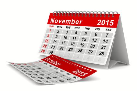 november 3d: 2015 year calendar. November. Isolated 3D image