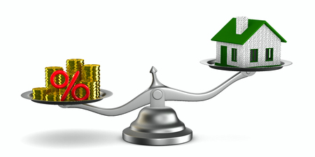 Casa y dinero en escalas. Aislados imagen 3D