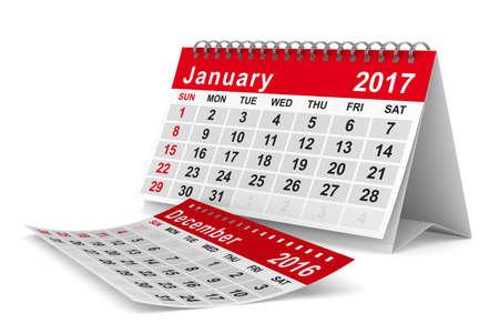 2017 año calendario. Enero. Aislados imagen en 3D