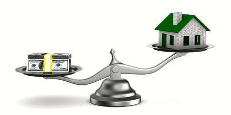 Huis en geld op schalen. Geïsoleerde 3D-beeld Stockfoto - 66137018