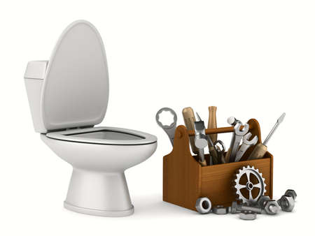 repair toilet on white background. Isolated 3D image Stok Fotoğraf