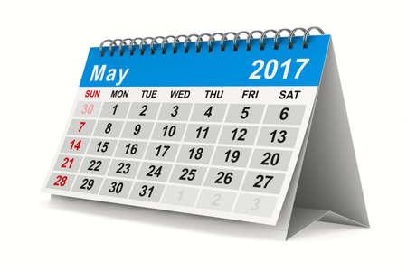 2017 jaar kalender. Mei. Geïsoleerde 3D-beeld Stockfoto - 66521010