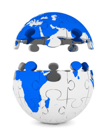 Globe from puzzle on white background. Isolated 3D image Stock Photo
