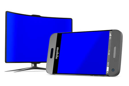 phone and tv on white background. Isolated 3D illustration Stock Photo