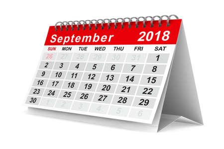 2018 year calendar. September. Isolated 3D illustration