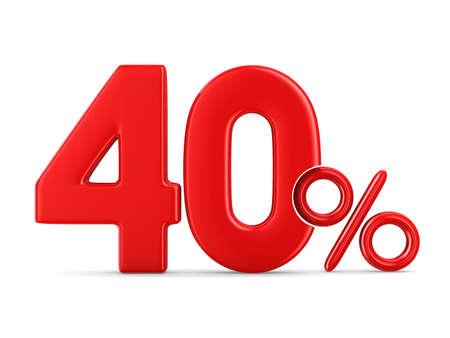 흰색 배경에 40 %입니다. 격리 된 3D 그림 스톡 콘텐츠