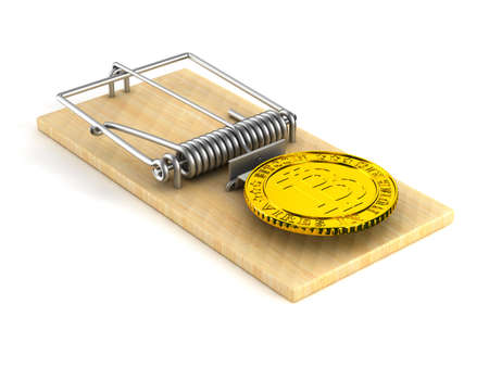 mousetrap and bitcoin on white background. Isolated 3D image Stock fotó