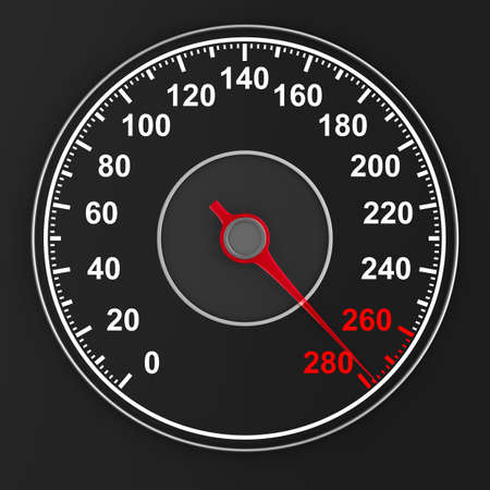 speedometer on black background. 3D illustration