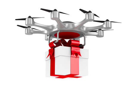 octocopter with gift box on white background. Isolated 3d illustration