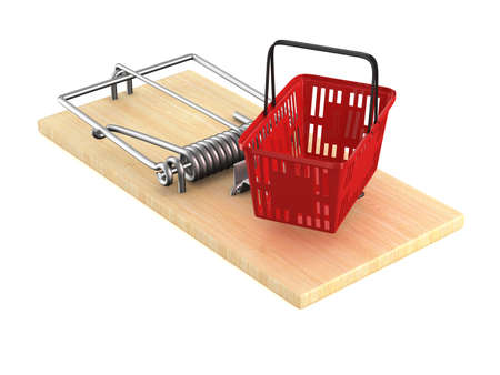 mousetrap with shopping basket on white background. Isolated 3D illustration Stock fotó - 86562456