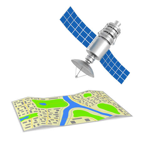 navigation system on white background. Isolated 3d illustration