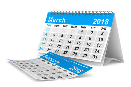 2018 year calendar. March. Isolated 3D illustration