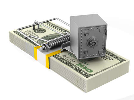 mousetrap and safe on white background. Isolated 3D illustration