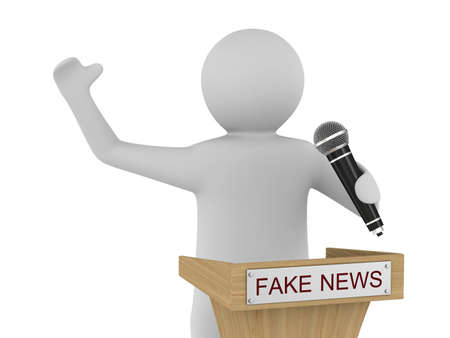 Fake news. man speaks with microphone on white background. Isolated 3D illustration Stock Photo