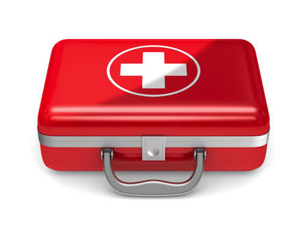 First aid kit on white background. Isolated 3D illustration Stock Photo